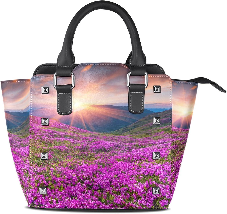My Little Nest Women's Top Handle Satchel Handbag Pink Flowers Mountains Ladies PU Leather Shoulder Bag Crossbody Bag