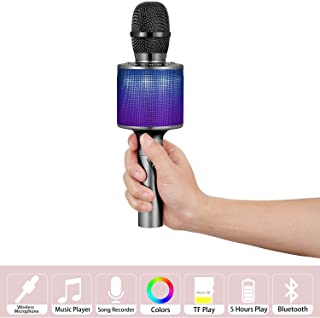 Karaoke Microphone Wireless, Sanovo Bluetooth Speaker Mic with LED Lights. Gift Idea for Kids, Portable Bluetooth Singing Recording Machine for iPhone Android Smartphone Home Birthday Party