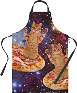 Baking Aprons for Women Men - Pizza Space Cats Funny Kitchen Cooking Apron