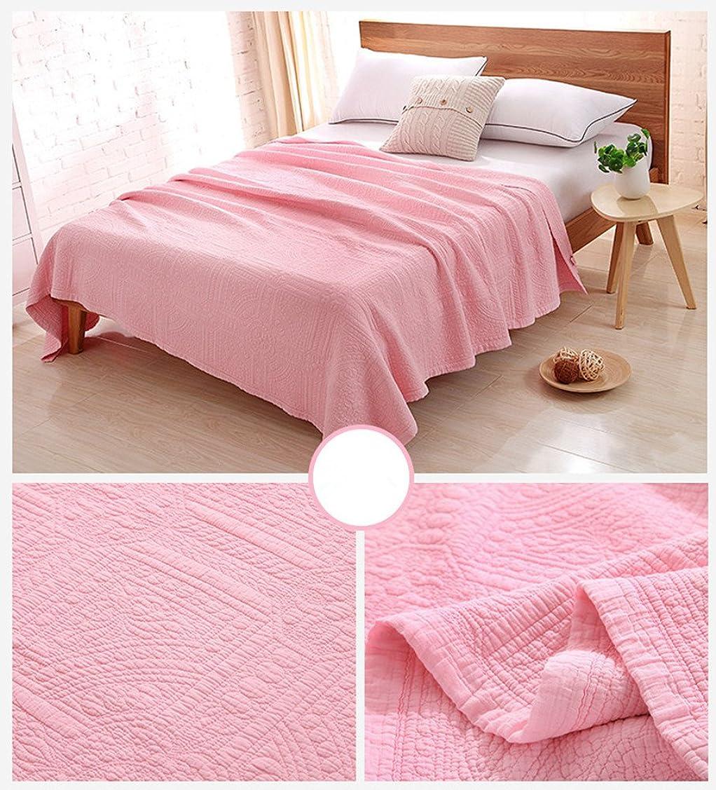 排出文句を言う哲学的DEWEL ベッドカバー ベッドスプレッド キルト 綿100% 無地 キルティング設計 洗える 薄型 おしゃれ 四季適用 韓国風 シンプル (シングル, ピンク)