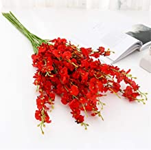 Rajahubri 5Pcs Artificial Orchids Flowers Silk Fake Orchids Flowers Faux Dancing Orchids Stems Fake Phalaenopsis Bouquet DIY Floral Art Plant for Indoor Outdoor Wedding Home Office Decoration (Red)