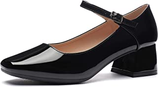 CINAK Women's Mary Jane Casual Pumps-Classic One Bar Straps Patent Heels Office Ladies Shoes