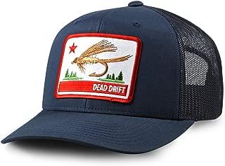Dead Drift Fly Fishing Hat California Trucker Navy Snap Back