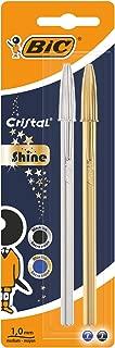 BIC Cristal Shine bolígrafos punta media (1,0 mm) - Cuerpo y colores Surtidos, Blíster de 2 unidades