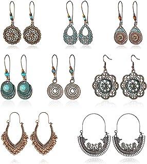 Vintage Statement Drop Dangle Earrings Bohemian National Style Hollow Water Drop Heart Shaped Alloy Long Boho Dangle Earri...
