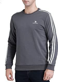 Mens Sweatshirt Crewneck Pullover Sweatshirts 2-Stripes Long Sleeve Sportswear Tops Exercise Outdoor Fall Autumn Spring