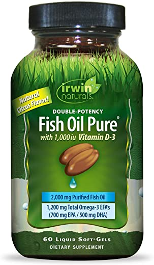 Irwin Naturals Double-Potency Fish Oil 2,000mg Purified Daily Wellness Formula with High Levels of Omega-3 EFA's, Vitamin D3, EPA & DHA - Natural Non-Fishy Citrus Flavor - 60 Liquid Softgels