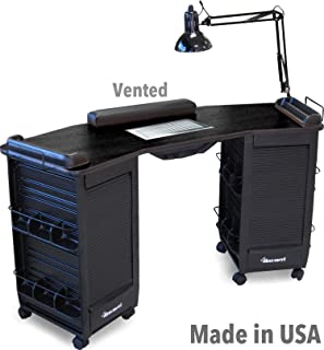 393-V FF Manicure Nail Table Vented Station w/Double Lockable Cabinets All Black Made in USA by Dina Meri
