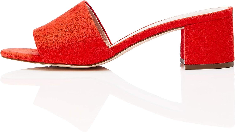 Find. Amazon Brand Women's Block Heel Mule Open-Toe Sandals with Strap