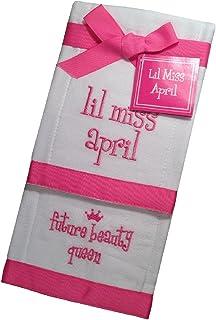 Lil Miss April Future Beauty Queen Baby Burp Bib Cloth Cotton Towel - Set of 2