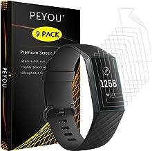PEMOTech Protector de Pantalla para Fitbit Charge 3 [9 Piezas], Cobertura Completa HD Clear Protector de Pantalla con [Fácil de Instalar][Anti-Burbuja][Arañazos Resistente] para Fitbit Charge 3