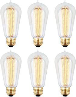 6pcs Edison Bulbs, KinHom 60 Watt Dimmable Vintage Incandescent Light Bulb - E26 Base - Clear Glass - Tear Drop Top - Classic Squirrel Cage Filament Lamp - ST58