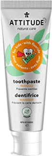 ATTITUDE Kids Natural Toothpaste with Fluoride, Prevents Tooth Decay and Cavities, Vegan and Sugar-Free, Mango, 120 grams