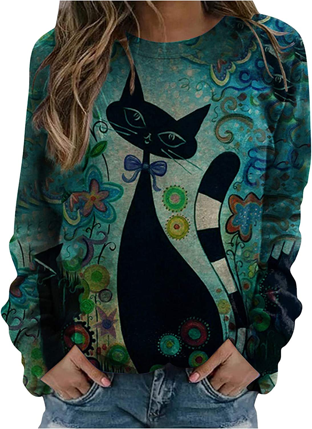 College Sweaters for Women,Womens Cat Print Long Sleeve Sweatshirts Casual Crewneck Loose Pullover