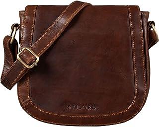 STILORD 'Diana' Handtasche Damen Leder Braun Elegante Umhängetasche Frauen Kleine Tasche Schultertasche Crossbody Bag Ausg...