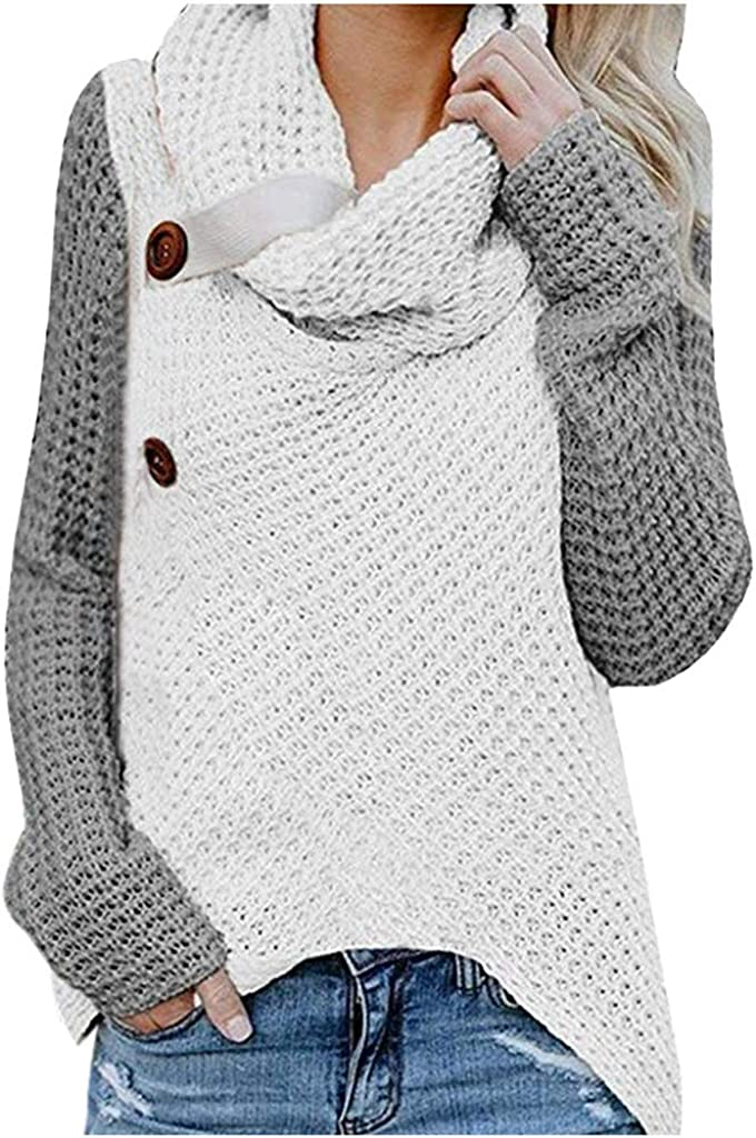 Pullover Sweaters for Women Knit, Wamajoly Womens Button Turtle Cowl Neck Asymmetric Hem Wrap Pullover Sweater Tops