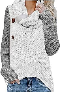 Dainzuy Womens Sweaters Casual Cowl Neck Chunky Button Turtle Knit Asymmetric Hem Wrap Pullover Sweatshirts