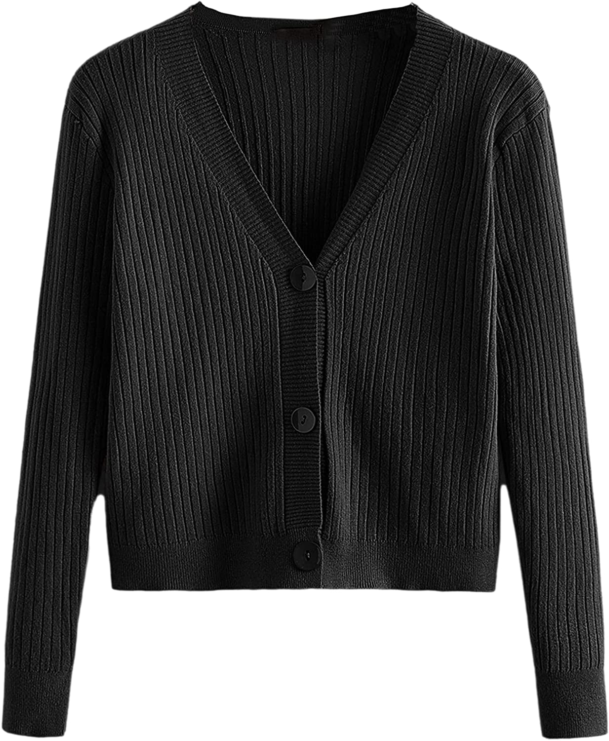 MakeMeChic Women's Casual Rib-Knit V Neck Button Front Crop Sweater Cardigan