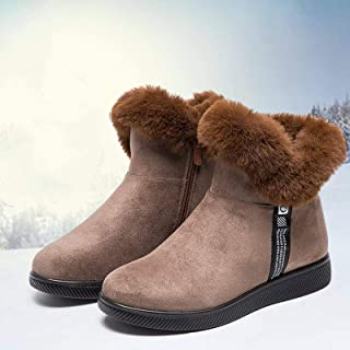 Snow Boots Winter Fur Warm Women Ankle Boots Zipper Non- Slip Furry Ladies Short Boots Round Toe Thicken Plush Mother Shoes