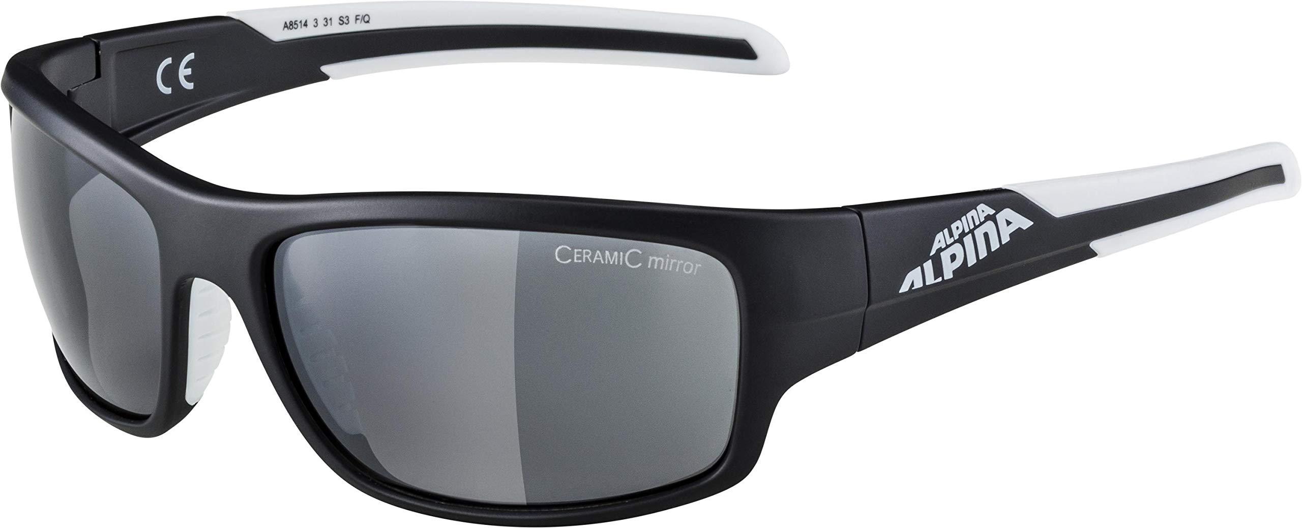 ALPINA Unisex - Erwachsene, TESTIDO Sportbrille, black-white matt, One size