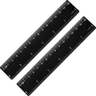 eBoot 2 Pieces Plastic Color Ruler Straight Ruler Math Rulers (6 Inches, Black)