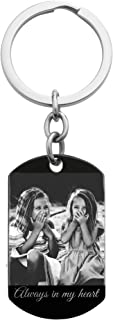 Queenberry Personalized Laser Photo/Text Engraving Stainless Steel Dog Tag Key Chain