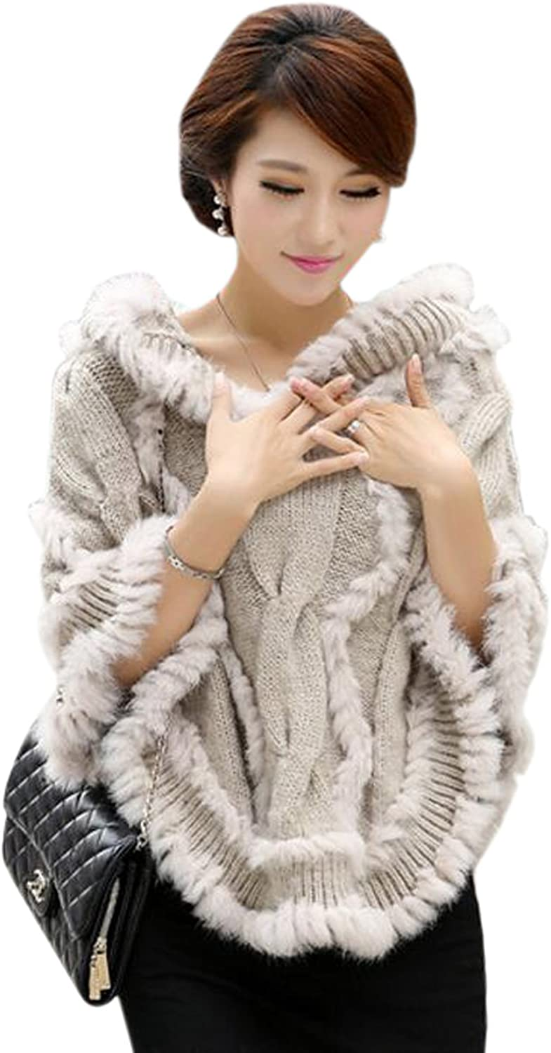 Easting Women's Large Real Genuine Real Rabbit Fur Hooded Cape Shawl Stole Jacket Poncho (Beige)