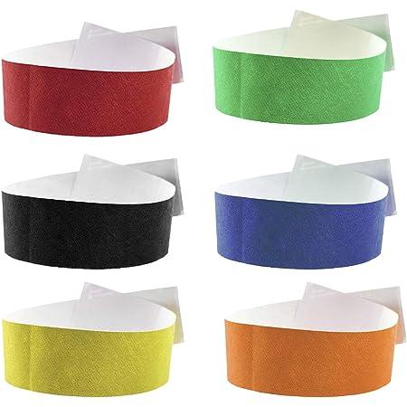 Fun Fan Line - 600 unités Bracelets d'identification 19 mm de large en papier tyvek. Bracelets de contrôle numérotés. Non transférable et résistant à l'eau. (Multicouleur)