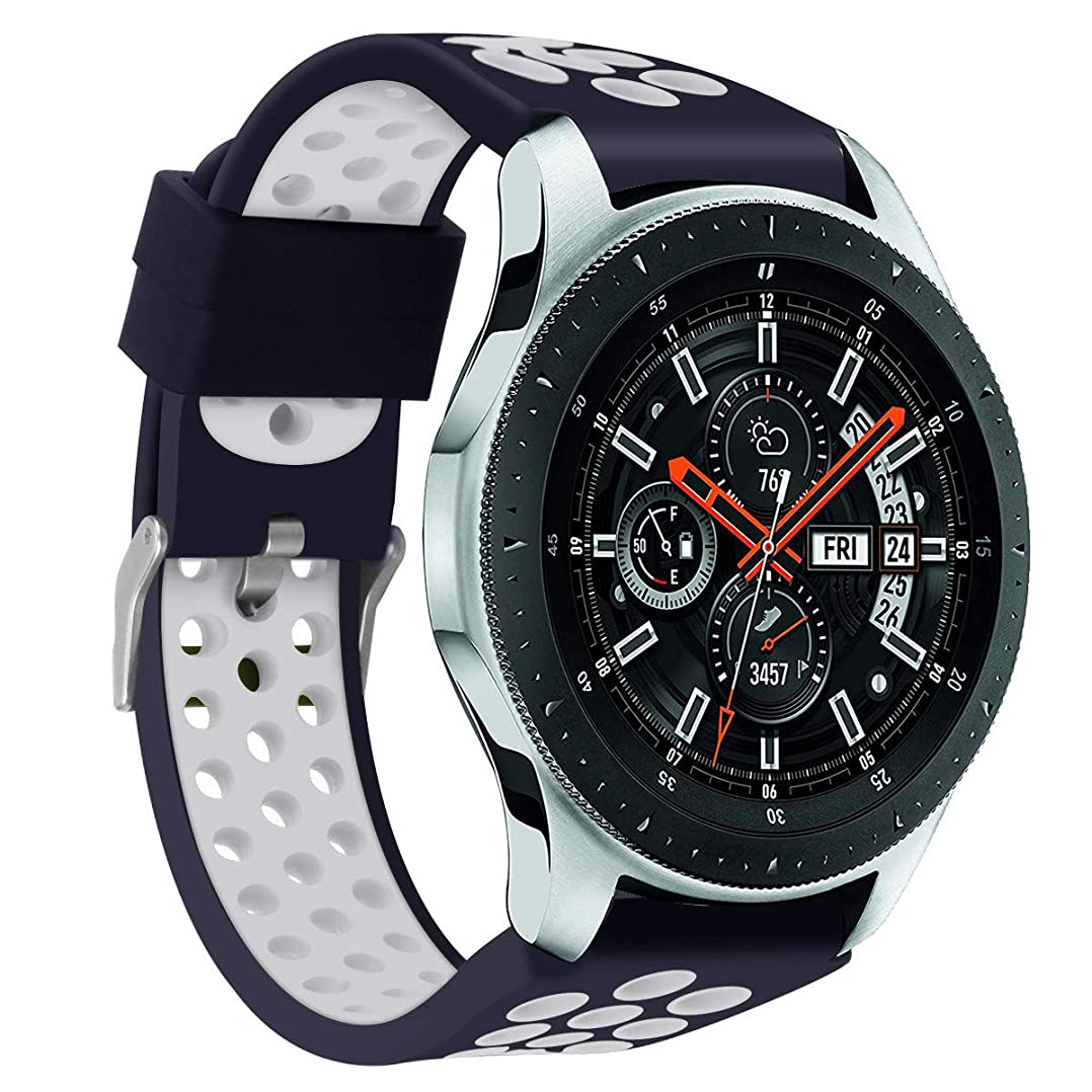 フェードアウト終了するするJurben for Samsung Galaxy Watch 46mm 腕時計バンド 時計バンド シリコーンブレスレットストラップバンド2トーンスポーツウォッチ交換バンドウォッチアクセサリー