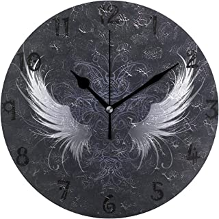 LDIY Art Abstract Angel Wing Round Wall Clock Circular Plate Silent Non Ticking Clocks for Kitchen Home Office School Decor Kid Boys Girls