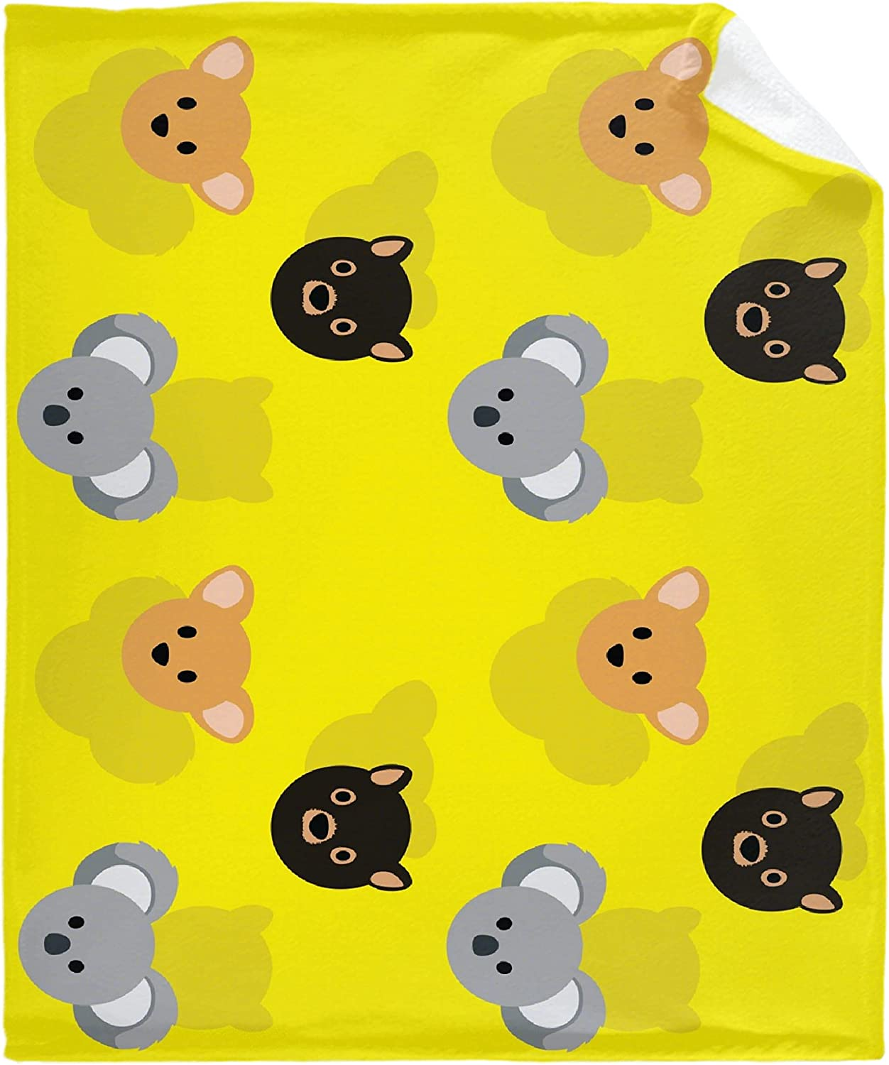 Yellow Animal Head OFFicial mail order Flannel Fleece B Blanket ...
