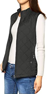 Allegra K Women's Stand Collar Lightweight Gilet Quilted Zip Vest Black L (US 14)