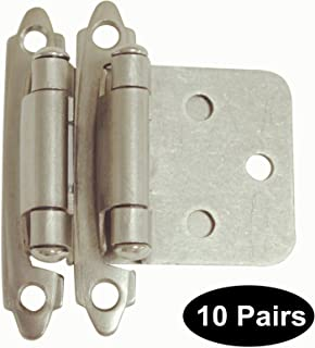 20 Pack(10 pairs) Brushed Satin Nickel Decorative Self Closing Face Mount Kitchen Cabinet Hinges Flush Variable Overlay