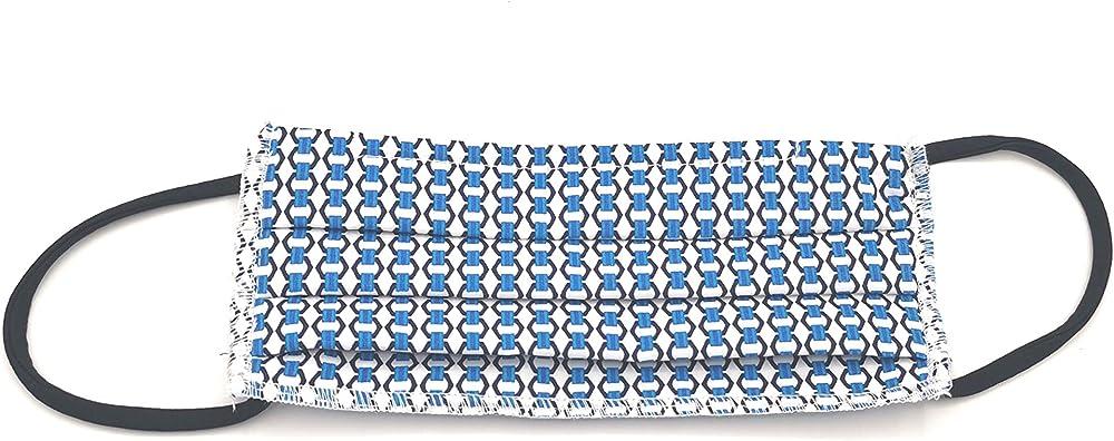 Boccadamo,3 mascherine lavabili riutilizzabili, colore azzurro, in cotone,mascherina, protezione virus SM08