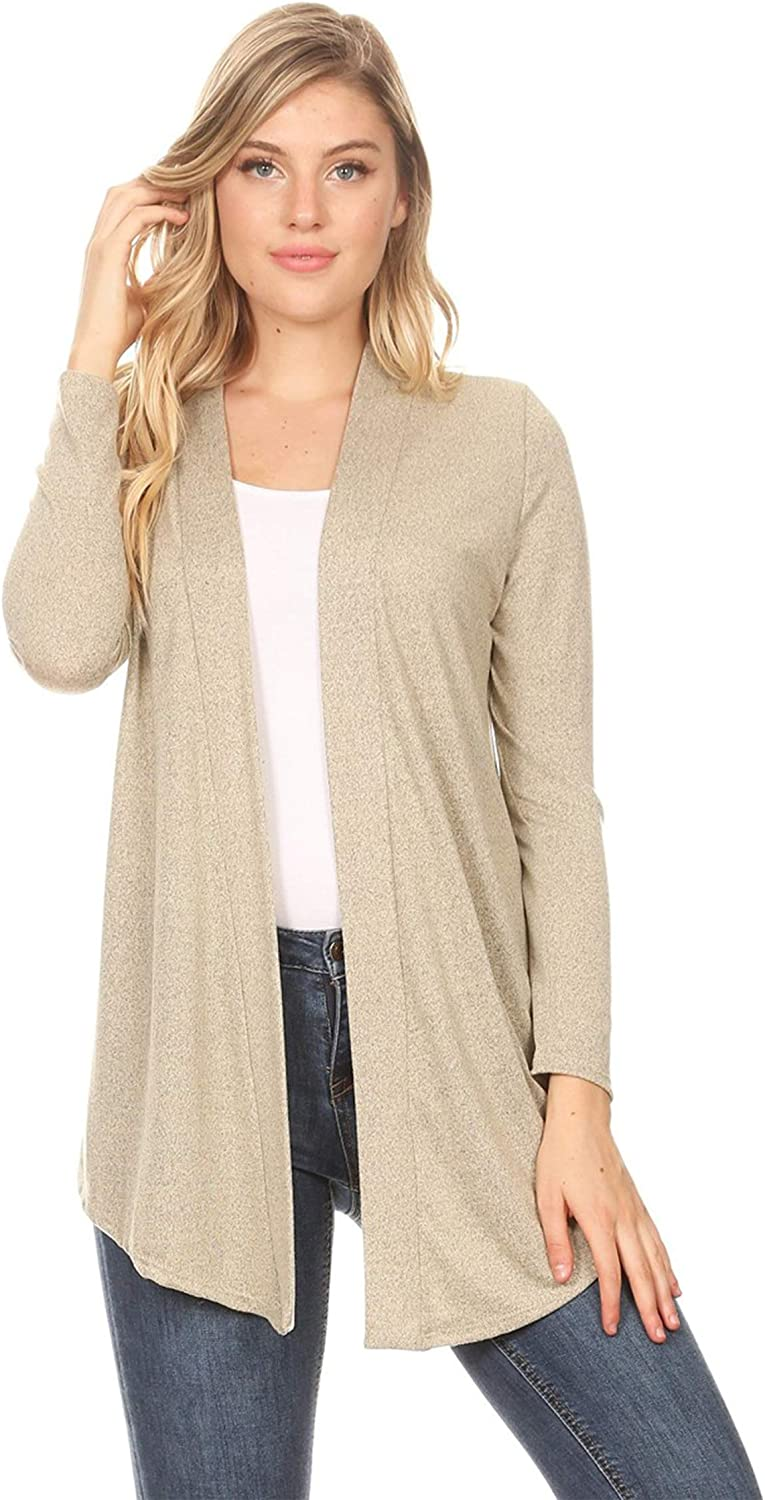 Women's Solid Basic Open Draped Front Long Sleeve Relaxed Cardigan Sweater/Made in USA