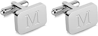 18K White-Gold Plated Initial Engraved Stainless Steel Men's Cufflinks With Gift Box -Personalized Alphabet Letter's A-Z By Lux & Pair