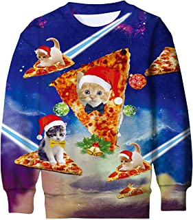 Enlifety Boys Girls Ugly Christmas Sweater Funny 3D Printed Fleece Sweatshirts Xmas Pullover Jumpers Graphic Tee Shirts 4-16T