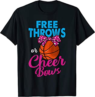 Free Throws Or Cheer Bows Shirt Gender Reveal Party Supplies T-Shirt