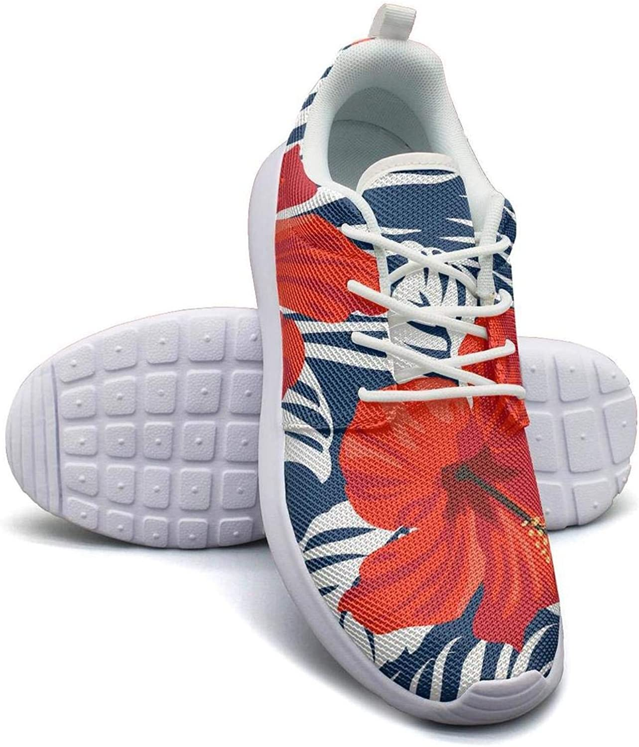 CHALi99 Casual Women's Lightweight Mesh shoes Tropical Floral Exotic Hibiscus Loafers Running Lace-Up