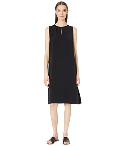 Eileen Fisher Round Neck Knee Length Dress (Black) Women