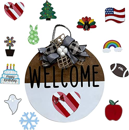 """discount DIY Welcome Sign Gnome Home Sign Wall Hanging Decor with 10-PC Interchangeable DIY Wood outlet online sale Crafts Seasonal Wreath for Front Door Garden Holiday Decoration Spring Independence online Day Christmas, 12"""" (B) outlet online sale"""