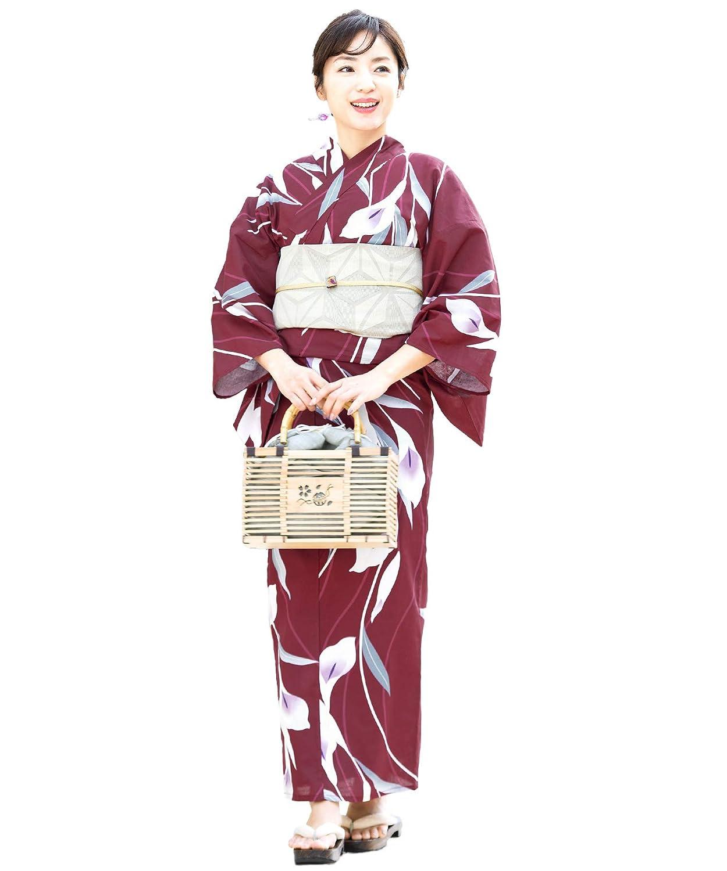 (ソウビエン) 浴衣 セット レディース 赤 レッド 紫 アイボリー カラー 花 綿 兵児帯 フリーサイズ