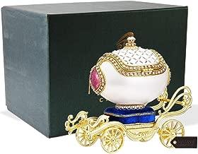 Matashi Faberge Easter Egg Trinket Box   Elegant Table Top Ornament w/Brilliant Crystals   Home, Living Room, Bedroom Décor (Carriage, Fur Elise)