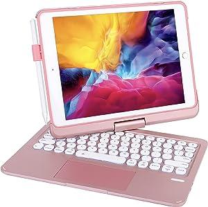 iPad Keyboard Case for iPad 2018 (6th Gen) - iPad 2017 (5th Gen) - iPad Pro 9.7 - iPad Air 2 & 1 - Thin & Light - 360 Rotatable - Backlit 7 Color - iPad Keyboard Case with Touchpad (9.7, Rose Gold)