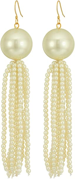 Kenneth Jay Lane - White Pearl Ball with White Pearl Tassel Fishhook Earrings