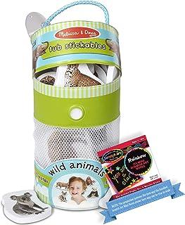 Wild Animals: Tub Stickables Soft Shapes Bath Toy Bundle with 1 Theme Compatible M&D Scratch Art Mini-Pad (31404)