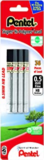 Pentel Super Hi-Polymer Lead Refill 0.5mm Fine, HB, 36 Pieces of Lead (C505BP3HB-K6)