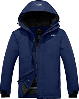 Men's Hooded Waterproof Fleece Ski Jacket Windproof Parka Winter Coat