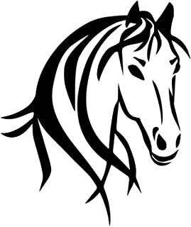 """Horse Truck Decal for Women is a Large OUTDOOR Vinyl Sticker Gift (22"""" x 26.25"""") Displaying Cowgirl Décor of Big Beautiful Wild Spirit Horse Head - Horse Trailer Truck Window RV – BLACK"""