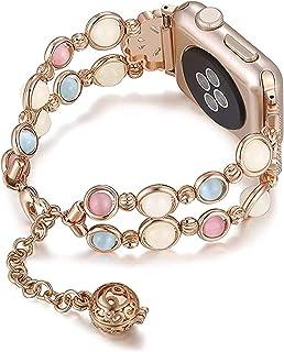 ZYOONG Correa de metal con perla luminosa para reloj de 6, 5, 40/44 mm, para mujer, para iWatch Series 4, 3, 2, 38/42 mm (...